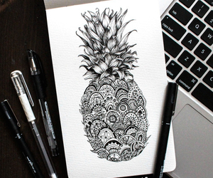 art, drawing, and pineapple image
