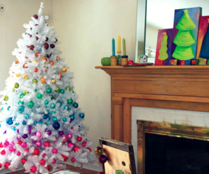 christmas, christmas tree, and rainbow image