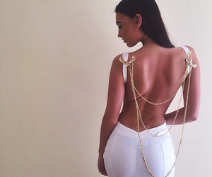 backless, dress, and white image