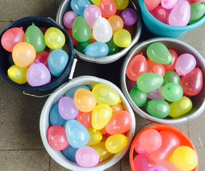 balloons, water, and water fight image