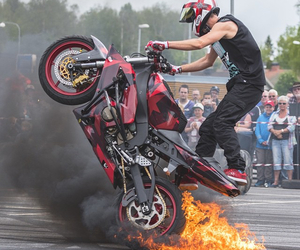 fire, motorbike, and red image