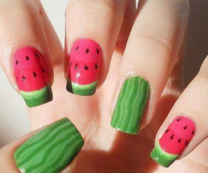 nails, watermelon, and green image