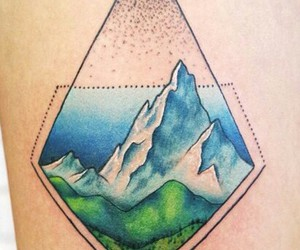 nature tattoo, geometric tattoo, and mountain tattoo image