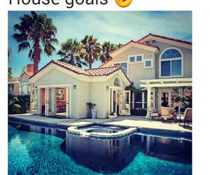 house, goals, and pool image