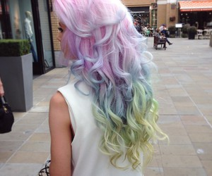 hair, pink, and rainbow hair image