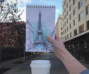 paris, starbucks, and eiffel tower image