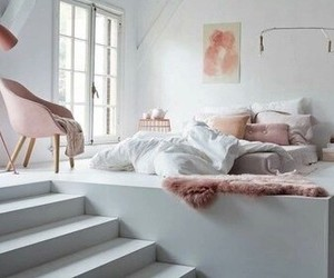 bedroom, pink, and white image