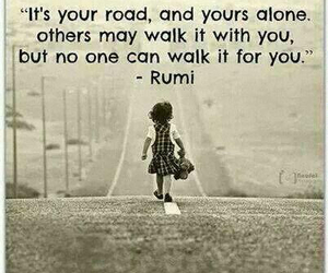 quote, road, and alone image
