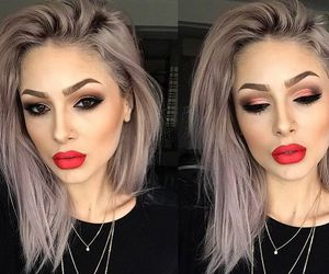 makeup, hair, and lips image