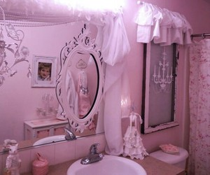 bathroom, mirror, and pink image