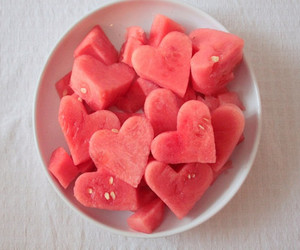 food, heart, and fruit image