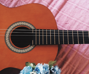 flower, guitar, and heaven image