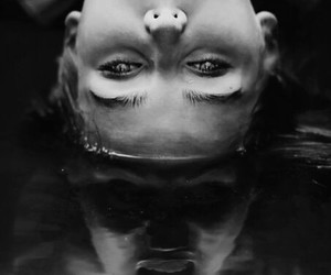 black and white, water, and scream image