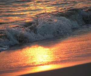 ocean, sunset, and wave image