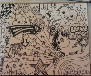 black and white, doodles, and penguins image