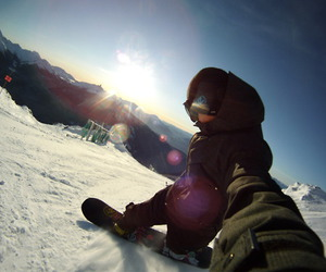 boy, snowboard, and mountain image