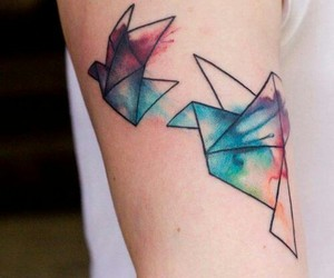 tattoo, bird, and origami image