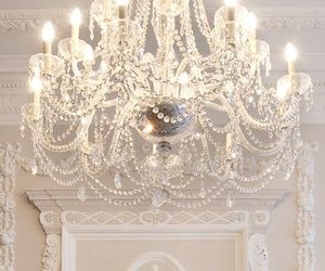 chandelier, luxury, and white image