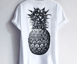 pineapple, black and white, and style image