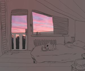 room, art, and sky image