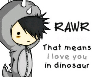 rawr, dinosaur, and I Love You image