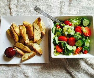 chips, salad, and delicious image