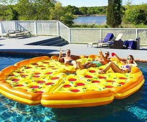 cool, pizza, and pool party image