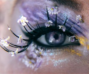 eye, lilac, and flowers image