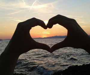 hands, heart, and sunset image