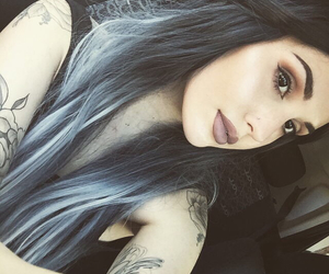 alternative, black hair, and blue hair image