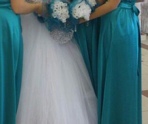 bride, bridesmaid, and cousin image