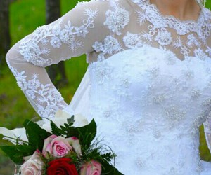 bride, flower, and lace image