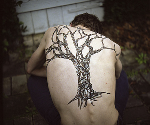 tattoo, tree, and boy image