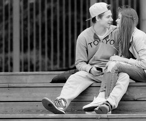 black and white, teen, and couple image
