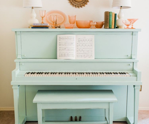 piano, music, and pastel image