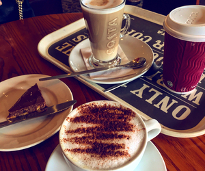 cake, cappuccino, and coffee image