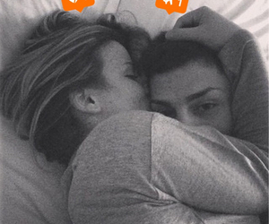 bed, couple, and hug image