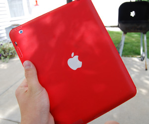 red, ipad, and apple image