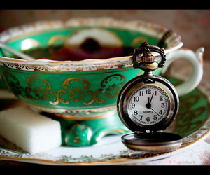 tea, clock, and green image