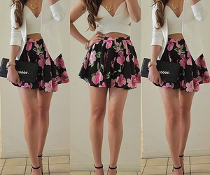 fashion, outfit, and flowers image