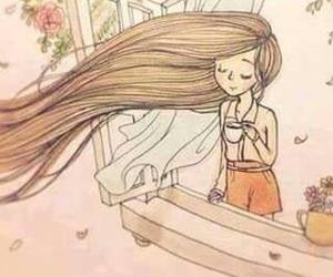 hair, tea, and wind image