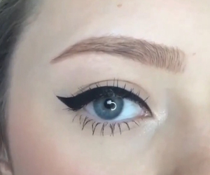 blue eyes, eyeliner, and makeup image