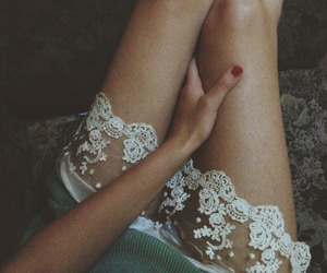 girl, hand, and lace image