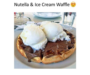 nutella, ice cream, and waffles image
