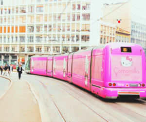hello kitty, pink, and train image