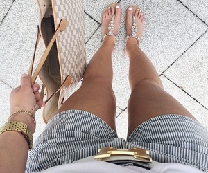 hermes, Louis Vuitton, and sandals image