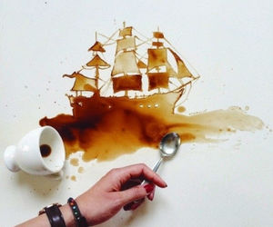 art, coffee, and ship image
