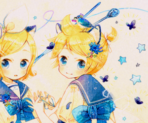 anime, vocaloid, and kagamine twins image