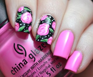floral, nails, and rose image
