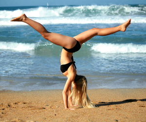 beach, Biarritz, and gymnastics image